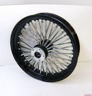 BLACK 48 KING FAT SPOKE REAR WHEEL FOR 84 99 HARLEY SOFTAILS CHROME