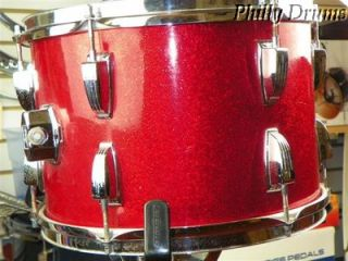 Vintage 1970s Ludwig 9x13 Mount Tom Drum Red Sparkle