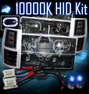 10000K Slim HID 94 98 Chevy Full Size Truck Halo Ring Carbon Fiber