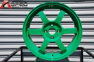 15X6.5 ROTA GRID 4X100 +38 AB GREEN WHEEL FITS CIVIC INTEGRA FIT MINI