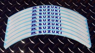 White Suzuki GSXR Logo Rim Stripes GSX R1000 750 600