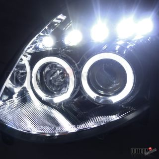 2003 2005 G35 Coupe LED Halo Rim Chrome Projector Headlights Bumper