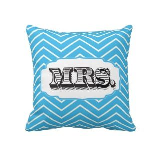 Bright Aqua Mrs Bride Zig Zag Pattern Pillow