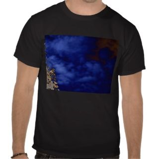 Dark Blue Mushroom Spirit Clouds and Negative bran Tshirt