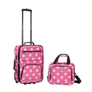 Rockland Luggage 2 Piece Printed Set Medium Pink Dot