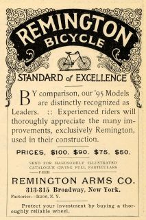 1895 Ad Remington Arms Bicycles Models Ilion New York   ORIGINAL