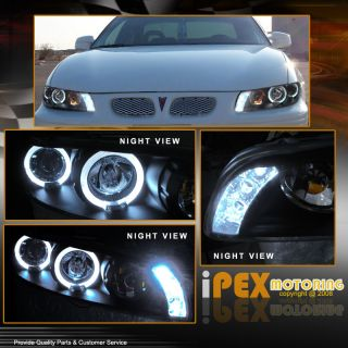 97 03 Pontiac Grand Prix Black Halo LED Projector Headlights Smoke