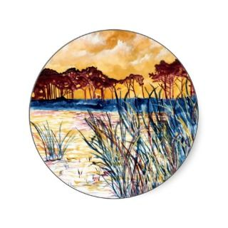Corporate Art Gulf Coast Landscape Painting Round Stickers
