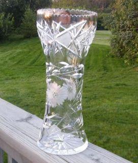 Vintage Antique Old Cut Glass Flowers Corset 12 Vase