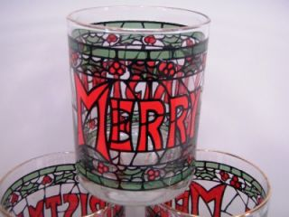 Cera Glass Merry Christmas Holly Stained Glass Double Old Fashioned