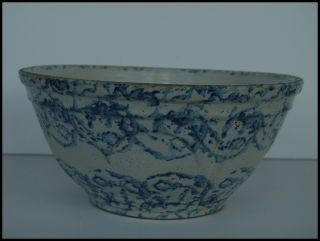 Antique Blue White Spongeware Stoneware Mixing Bowl