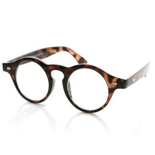 Retro Round Horned Rim Circle P 3 Shape Clear Lens Glasses w Key Hole