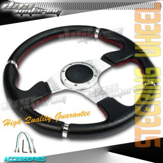Black Silver Red Stitch PVC Leather 320mm Racing Steering Wheel Race