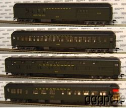 HO Train Rivarossi Heavyweight 4 Passenger Car Set Lackawanna DL w