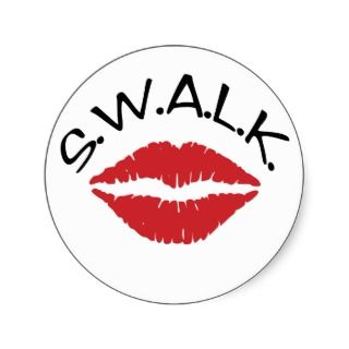 SWALK   Sealed With A Loving Kiss envelope sealers Round Sticker