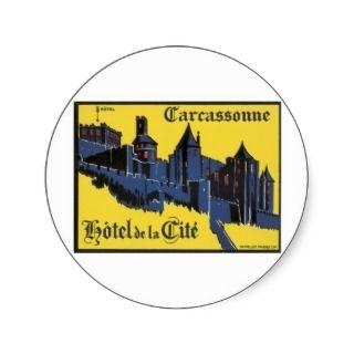 Hôtel de la Cité Carcassonne France Vintage Round Sticker