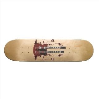 Double Neck Guitar Tribal Graphics   Skateboard #1