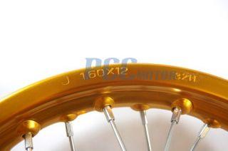 12 Gold Rear Rim Wheel Honda XR50 CRF50 SDG SSR 70 107 125cc Pit Bike