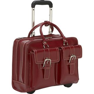Franklin Covey Leather Wheeled Laptop Case Red