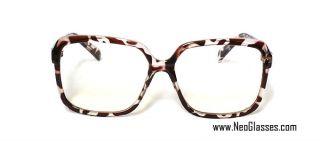Neo Full Rim Eyeglasses Frame Large Square Leopard