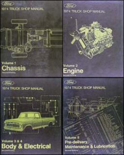 1974 Ford Pickup Truck Van Bronco Shop Manual Set 74 F100 F150 F250