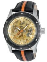 Akribos XXIV AK476OR Skeleton Automatic Orange Leather Strap Mens