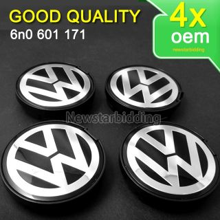 4X VW Emblem Wheel Center Caps Passat Jetta Golf 6N0601171 55mm Good