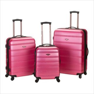 Rockland Melbourne 3 Piece ABS Luggage Set Orange F160 Red