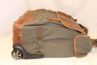Bob Timberlake Wheeled Garment Bag Travel Luggage Heavy Duty Canvas