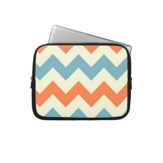 Orange blue chevron zigzag stripes zig zag pattern laptop sleeves