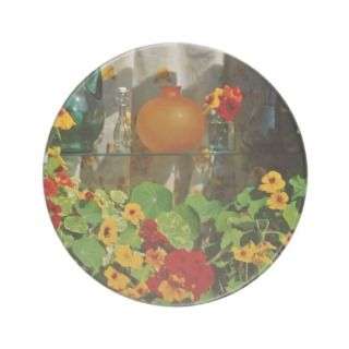 Nasturtiums with glass bottles flowers coaster