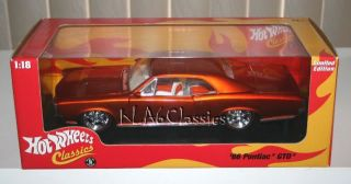 Hot Wheels Classics 66 Pontiac GTO Red Line 1 18 RARE