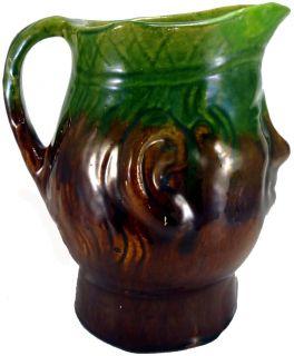 Vintage Bennington Art Pottery Green Brown 8 Toby Face Jug Pitcher as