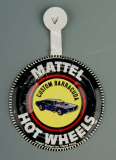 163 Original 1967 Hot Wheels Pin Badge for Custom Barracuda Redline