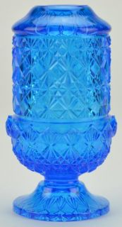 Blue Art Glass Fairy Lamp  Pressed Glass 6 Tall Decorative Home