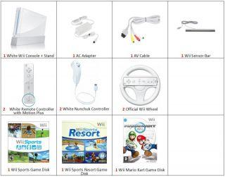 Nintendo White Wii Console 3 Games 2P Bundle Mario Kart