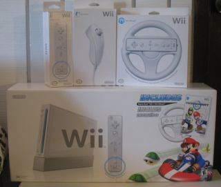 Nintendo White Wii Console 2P Bundle w Mario Kart Game