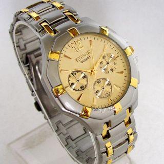 New Trendy Designer Gold Stainless Steel Quartz Mens Wrist Watch