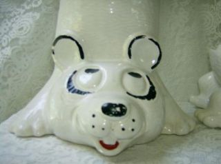 Large McCoy Upside Bear Cookie Jar 210 USA Pottery Treat Jar