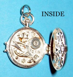 Sterling 925 Silver Pocket Watch Charm Alice Wonderland