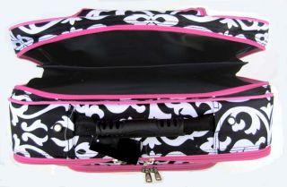 16 Computer Laptop Briefcase Rolling Bag Floral Pink