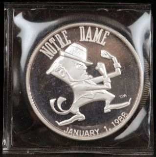 1988 Notre Dame Cotton Bowl 1 oz 999 Fine Limited Edition Silver Round