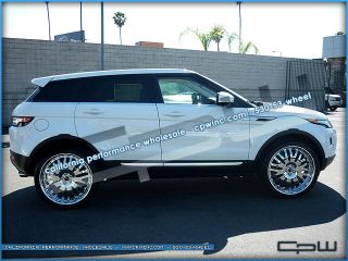 ROVER EVOQUE 22 INCH CHROME WHEELS RIMS TIRE PACKAGE TWO PIECE FORGED