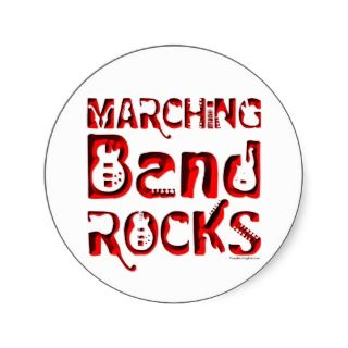 Red Marching Band Rocks Round Sticker