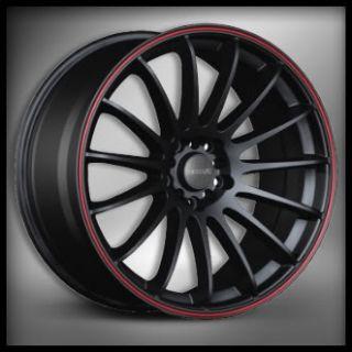 18x9 Tenzo Wheels Cuzco Black Red 240sx Lancer WRX RSX
