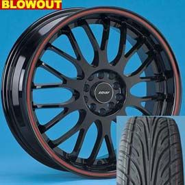 18 Wheels and Tires Package Rims Volante Black Red