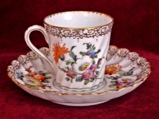 Antique Dresden Porcelain Coffee Cup Can Saucer Dresden Crown Mark