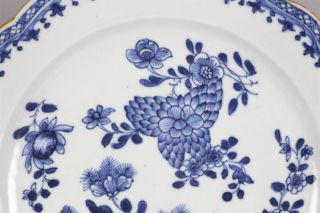 Antique Chinese Floral Painted Blue White Plate Kangxi 1662 1722