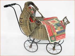 Vintage Wicker Doll Stroller Carriage Pram Metal Wheels