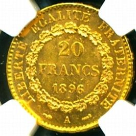 1896 France Angel Gold Coin 20 Francs NGC Certified Genuine Graded MS